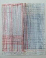 Hauchblatt (Vorhang, Rollo rot), 2008-2010, Colour pencil and dispersion paint on paper., h: 29,5 x w: 24,8 cm / h: 11,6 x w: 9