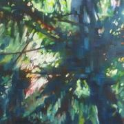Through the trees 150x150cm 2010 oil on canvas